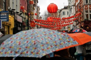 London Chinese New Year: Umbrellas and Lanterns