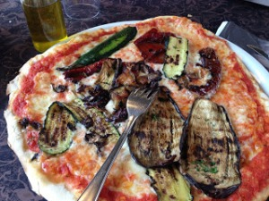The pizzas are so big! This one had grilled veggies