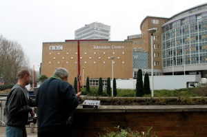 Journalists at work in front of the BBC